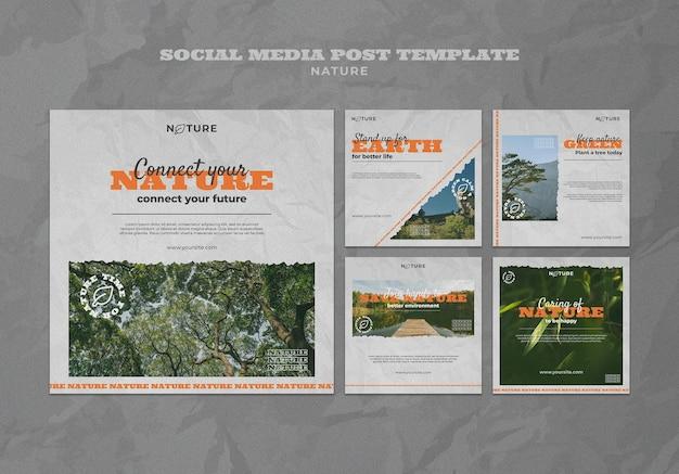 Salvar modelo de postagem de mídia social da natureza