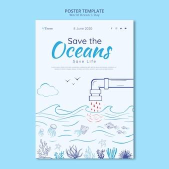Salvar o modelo de cartaz dos oceanos