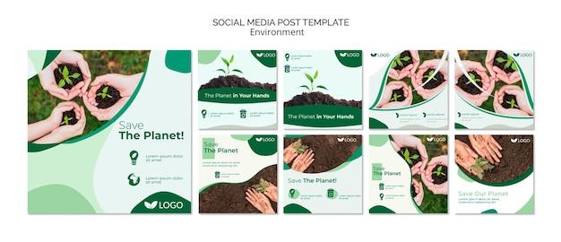 Salvar o modelo de postagem de mídia social do planeta