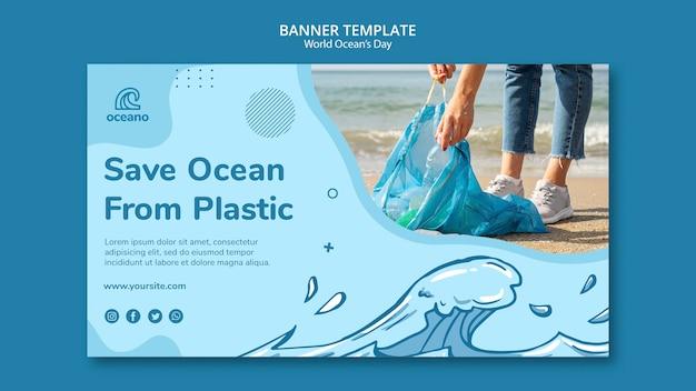 Salvar o oceano do modelo de banner de poluição