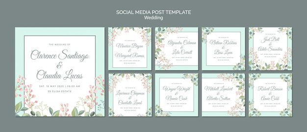 Salvar o post de mídia social de casamento floral de data