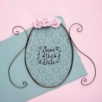 Salvar o quadro clássico de mock-up de data com rosas