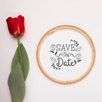 Salve a maquete de data com tulipa