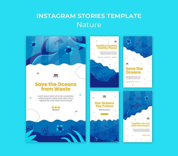 Salve as histórias de mídia social dos oceanos