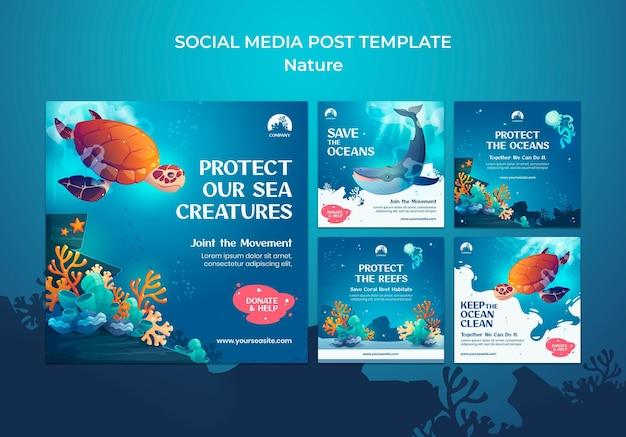 Salve as postagens de mídia social dos oceanos