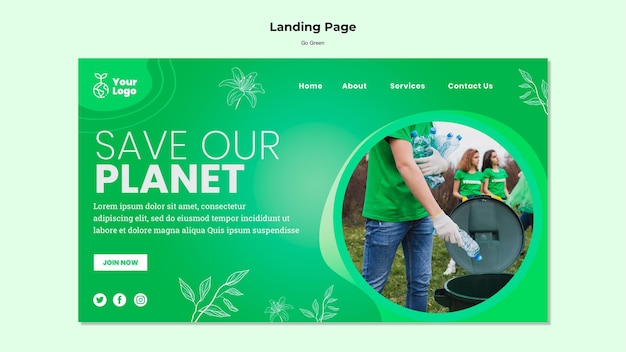 Salve nosso modelo de página de destino do planeta