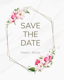 Salve o cartão de maquete de convite de casamento de data