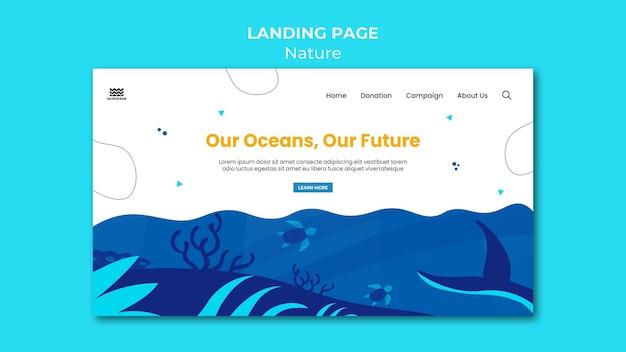 Salve o modelo da página de destino dos oceanos