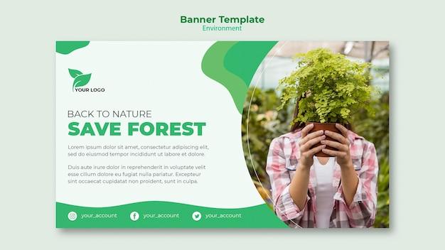 Salve o modelo de banner da floresta