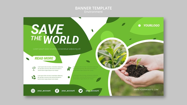 Salve o modelo de banner do mundo