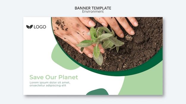 Salve o modelo de banner do planeta com as mãos e o solo