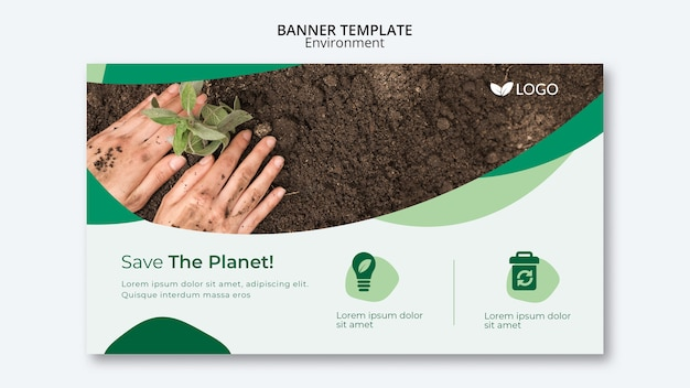 Salve o modelo de banner do planeta com as mãos, plantando no solo