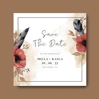 Salve o modelo de cartão de data com molduras florais em aquarela
