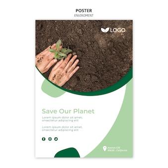 Salve o modelo de cartaz do planeta com planta e solo