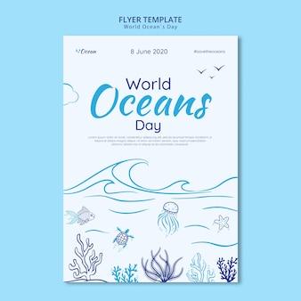 Salve o modelo de folheto mundo subaquático
