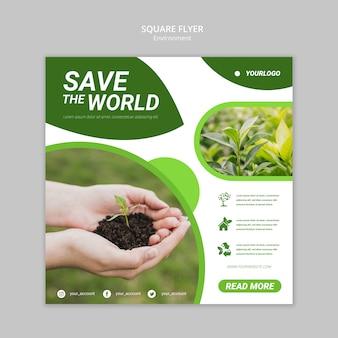 Salve o modelo de folheto quadrado mundial