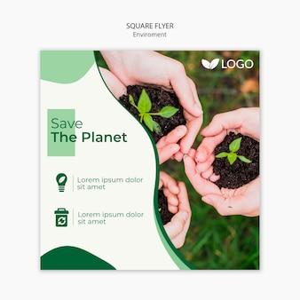 Salve o modelo de panfleto planeta com as mãos segurando o solo com plantas