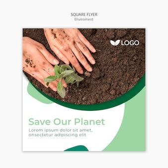 Salve o modelo de panfleto planeta com solo e mãos