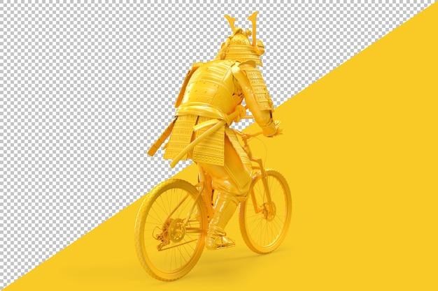 Samurai andando de bicicleta. visão traseira. ilustração 3d