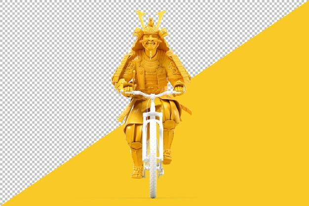 Samurai em armadura andando de bicicleta renderização em 3d