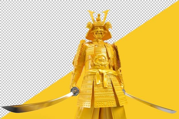 Samurai em armadura com uma representação de espada