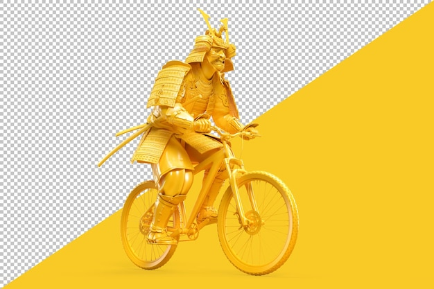 Samurai em armadura completa andando de bicicleta renderizando