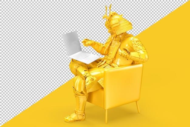 Samurai sentado em uma cadeira com um laptop isolado
