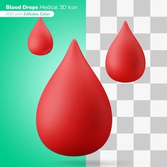 Sangue gotas símbolo do doador ilustração 3d ícone 3d cor editável isolada