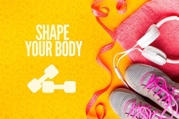 Sapatos de fitness e equipamentos para aula