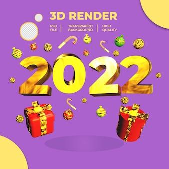Saudação de ano novo 3d render com caixa de presente e doces