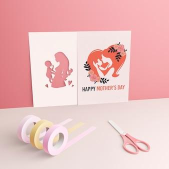 Saudação de cartão de dia das mães com maquete