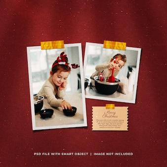 Saudação de natal nas mídias sociais - maquete de molduras em papel fotográfico
