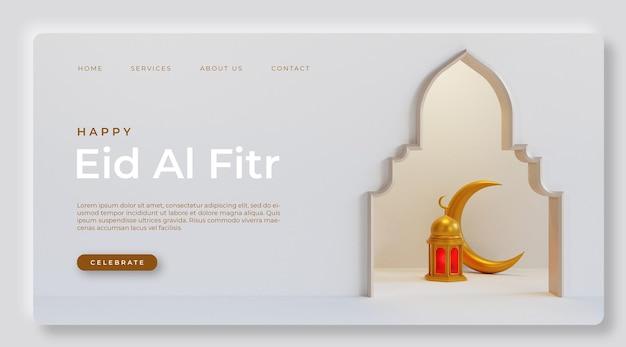 Saudação eid mubarak com elemento 3d realista psd