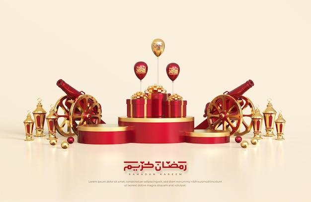 Saudações do ramadã islâmico, composição com lanterna árabe 3d, canhão tradicional e caixa de presente no pódio redondo
