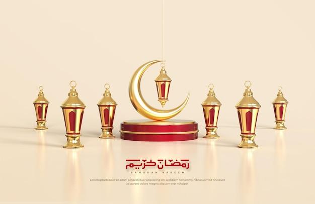 Saudações do ramadã islâmico, composição com lanterna árabe 3d e lua crescente