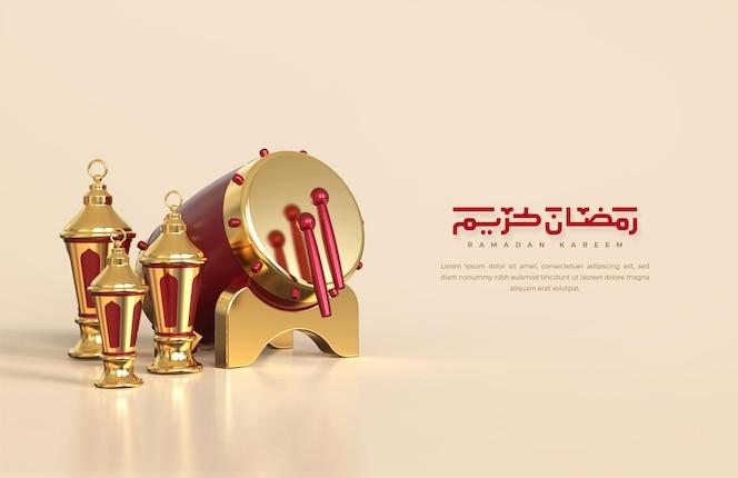 Saudações do ramadã islâmico, composição com lanterna árabe 3d e tambor tradicional