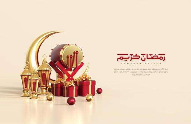 Saudações do ramadã islâmico, composição com lanterna árabe 3d, lua crescente, tambor tradicional e caixa de presente