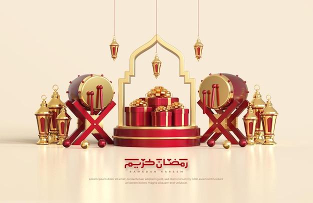 Saudações do ramadã islâmico, composição com lanterna árabe 3d, tambor tradicional e caixa de presente no pódio redondo