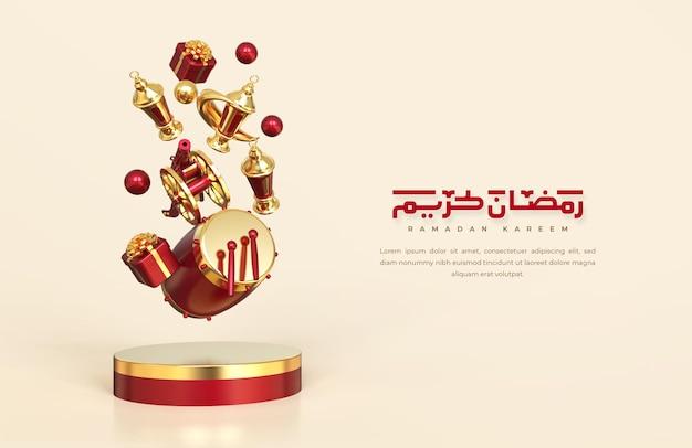 Saudações do ramadã islâmico, composição com lanterna árabe, caixa de presente, tambor e pódio redondo com enfeite de mesquita, composição de design levitation caindo