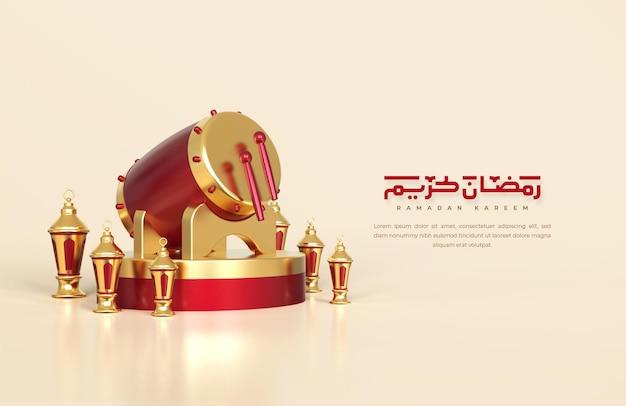 Saudações do ramadã islâmico, composição com tambor tradicional 3d e lanternas árabes