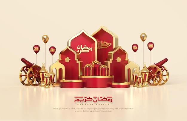 Saudações islâmicas do ramadã, composição com lanterna árabe 3d, caixa de presente. canhão tradicional e palco de pódio redondo com enfeite de mesquita