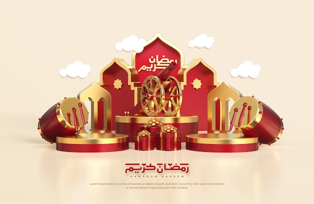 Saudações islâmicas do ramadã, composição com lanterna árabe 3d, caixa de presente. canhão tradicional, tambor e palco redondo de pódio com enfeite de mesquita
