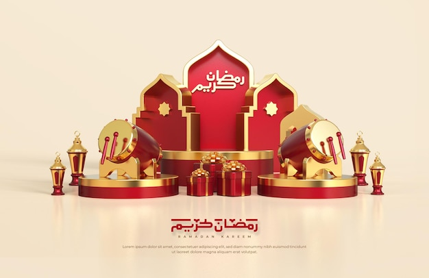 Saudações islâmicas do ramadã, composição com lanterna árabe 3d, caixa de presente. tambor tradicional e palco de pódio redondo com enfeite de mesquita