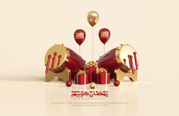 Saudações islâmicas do ramadã, composição com tambor tradicional 3d e caixas de presente