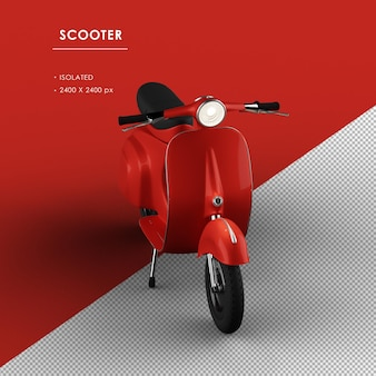 Scooter vermelha isolada da vista superior frontal do ângulo esquerdo