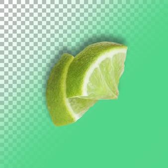 Seção de fatias de limão verde isolada sobre o fundo transparente.