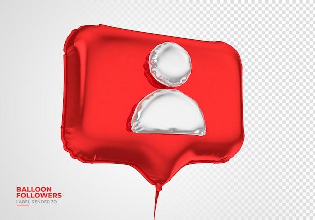 Seguidores de ícones de balão, instagram, redes sociais, renderização em 3d