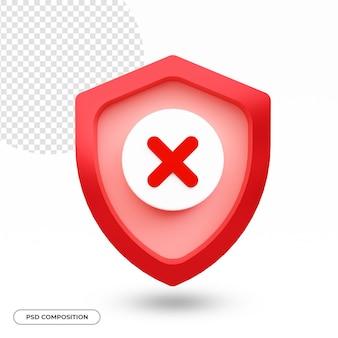 Segurança ou ícone de segurança isolado na renderização 3d