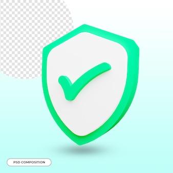 Segurança ou ícone de segurança renderização em 3d