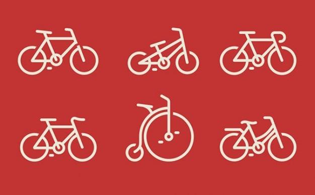 Seis modelos de bicicletas ícones psd
